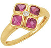 Elegant Rubellite Tourmaline Genuine Gemstone Ring at BitCoin Gems