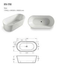 Load image into Gallery viewer, BNK Oval Freestanding Acrylic Bath Matte White