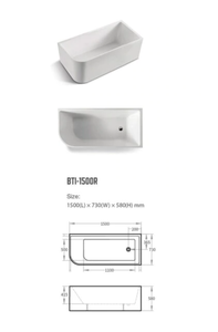 BNK Corner Acrylic Bath Matte White Right Hand Side