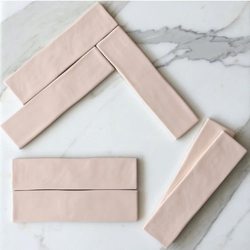Chalk Pale Pink Subway Tile - Yeomans Bagno Ceramiche