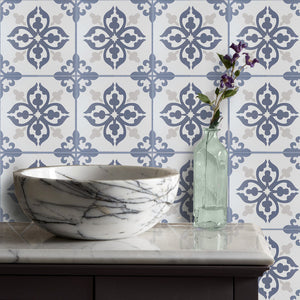 Floriston Blue Encaustic Look Feature Tile - Yeomans Bagno Ceramiche
