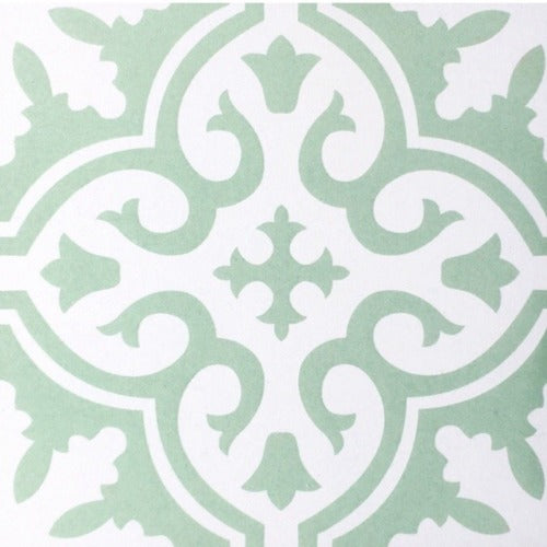 Lillian Mint Green Encaustic Look Feature Tile - Yeomans Bagno Ceramiche