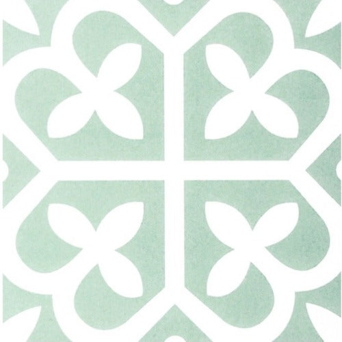 Malabar Mint Green Encaustic Look Feature Tile - Yeomans Bagno Ceramiche