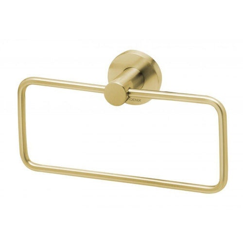 Phoenix Radii Hand Towel Holder Round Plate - Brushed Gold - Yeomans Bagno Ceramiche
