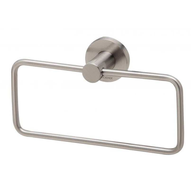 Phoenix Radii Hand Towel Holder Round Plate - Brushed Nickel - Yeomans Bagno Ceramiche
