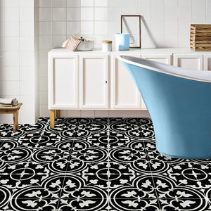 York Black Encaustic Look Feature Tile - Yeomans Bagno Ceramiche