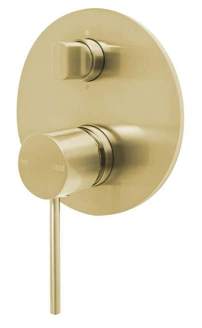 Vivid Slimline Shower/Bath Diverter Mixer - Brushed Gold - Yeomans Bagno Ceramiche