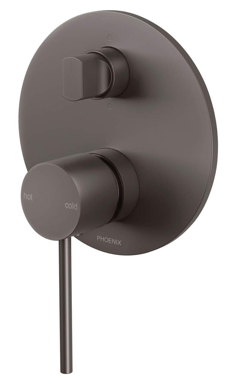 Vivid Slimline Shower/Bath Diverter Mixer - Gun Metal - Yeomans Bagno Ceramiche