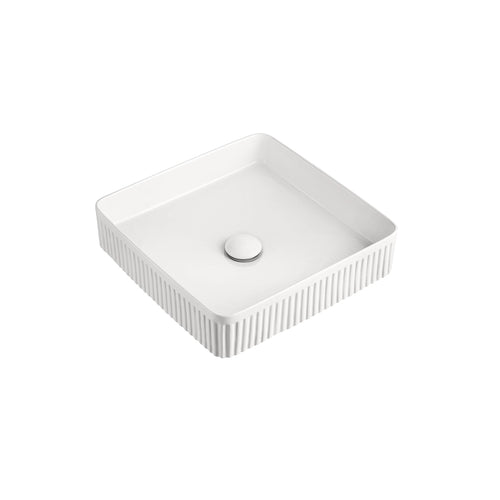 ADP Square Fluted White Gloss Basin - Yeomans Bagno Ceramiche