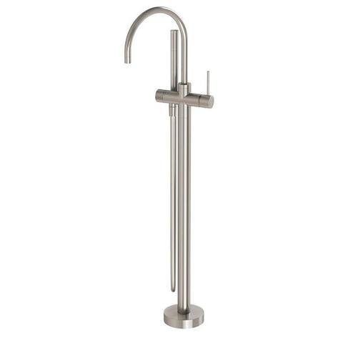 Vivid Slimline Floor Mounted Bath Mixer with Hand Shower - Brushed Nickel - Yeomans Bagno Ceramiche