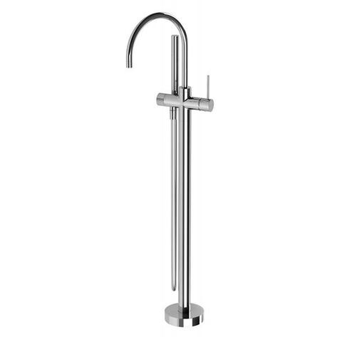 Vivid Slimline Floor Mounted Bath Mixer with Hand Shower - Chrome - Yeomans Bagno Ceramiche