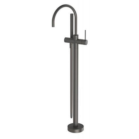 Vivid Slimline Floor Mounted Bath Mixer with Hand Shower - Gun Metal - Yeomans Bagno Ceramiche