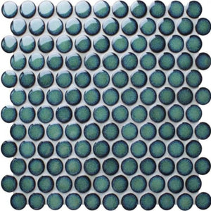 Soho Large Penny Round Mosaic Tile Green Emerald - Yeomans Bagno Ceramiche