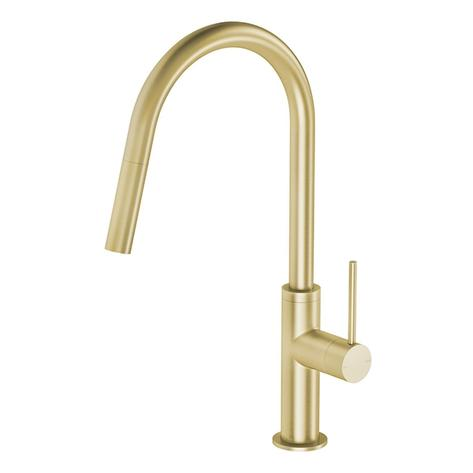 Phoenix Vivid Slimline Pull Out Sink Mixer - Brushed Gold - Yeomans Bagno Ceramiche