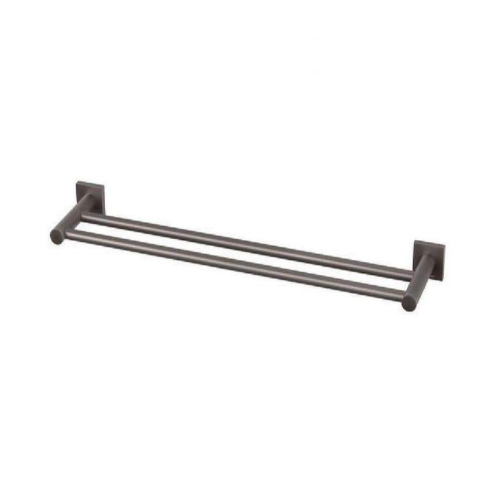 Phoenix Radii Double Towel Rail 600mm Square Plate - Gun Metal