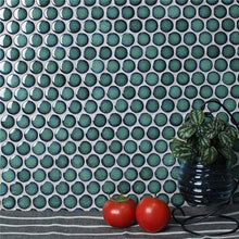Load image into Gallery viewer, Soho Large Penny Round Mosaic Tile Green Emerald - Yeomans Bagno Ceramiche
