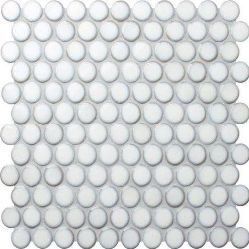 Soho Large Penny Round Mosaic Tile White - Yeomans Bagno Ceramiche
