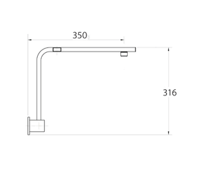 Fienza Square Fixed Gooseneck Wall Arm - Chrome