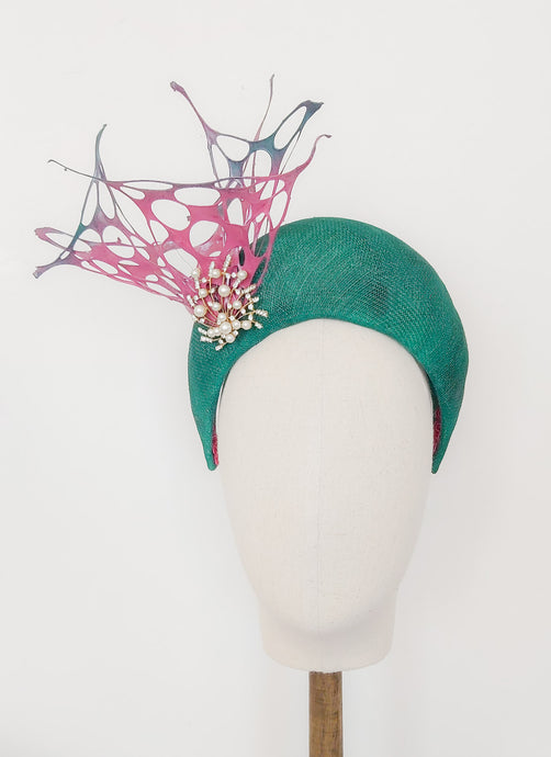 Spring Eternal - Green Sinamay Halo Crown - Fee McToal Millinery
