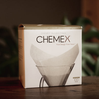 100 count box of Chemex bonded coffee filters