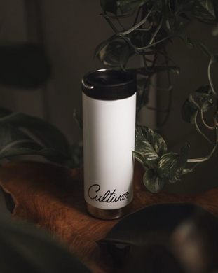 16 oz wide mouth, insulated bottle and coffee mug with Cultivar Coffee logo, produced by Klean Kanteen
