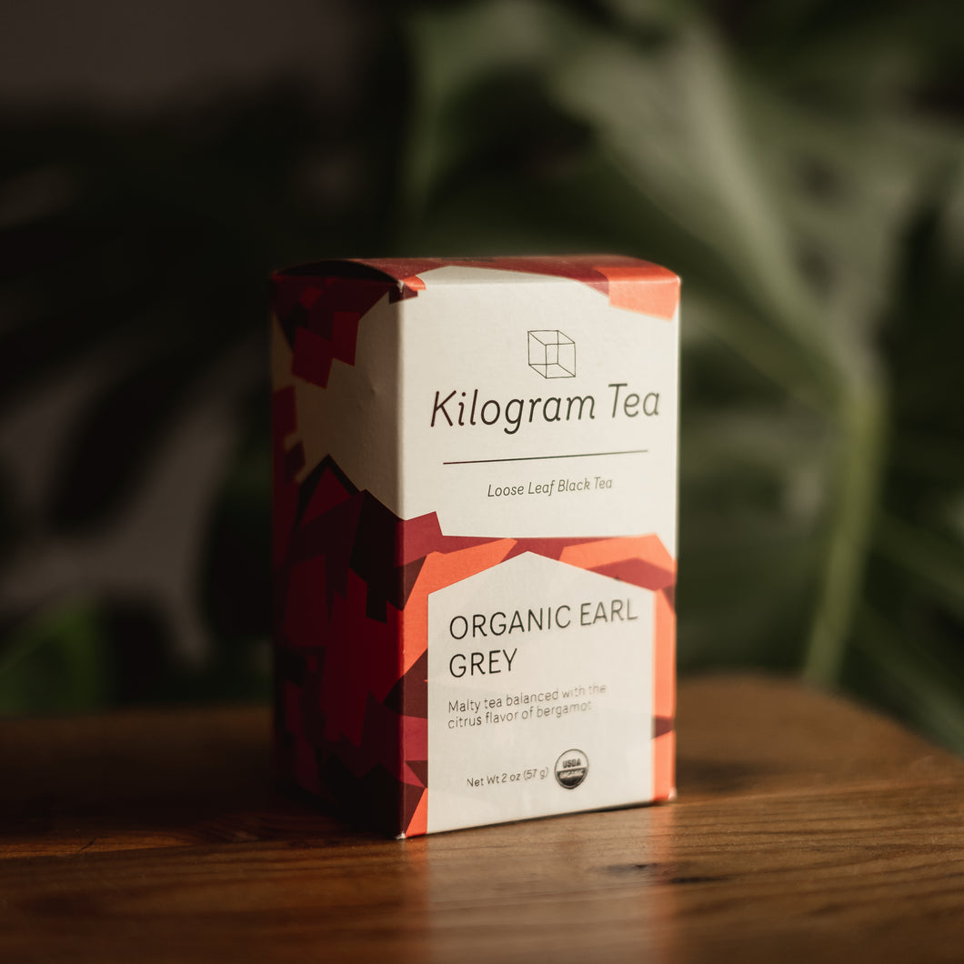 2 oz box of loose leaf Organic Early Grey black tea from Kilogram Tea