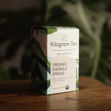 1.75 oz box of loose leaf Organic Emerald Spring green tea from Kilogram Tea