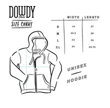 Load image into Gallery viewer, Dowdy Studio Unisex Hoodie Size Chart Width and Length