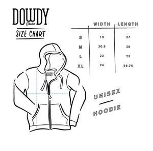 Dowdy Studio Unisex Hoodie Size Chart Width and Length