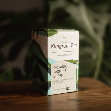 1.75 oz box of loose leaf organic jasmine green tea from Kilogram Tea