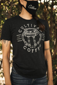 Charcoal gray t-shirt with Cultivar Coffee robot design on the front
