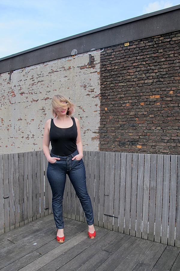 ginger jeans front view