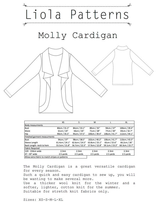 Description  and drawing in the shop for the Molly Cardigan