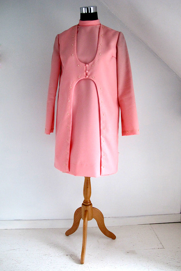seventies vintage pink dress front view