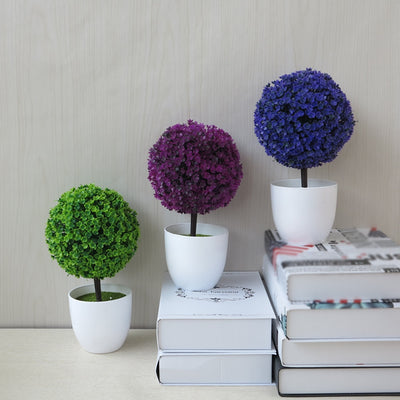 1pcs Home Garden Mini Round Plastic Plant Flowers Pot Offce Decor Planter White