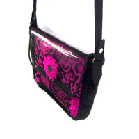 Medium Size Bag - Tibetan Silk and Faux Fur with Detatchable Strap - Fuscia & Black