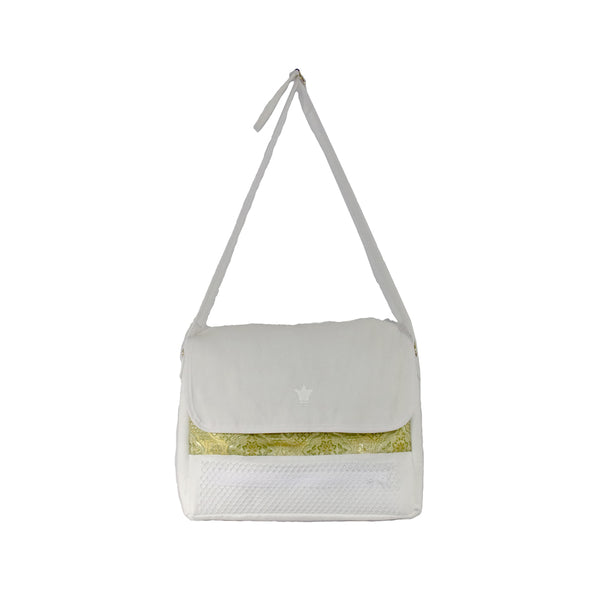 White Faux Suede and Tibetan Silk Laptop / Messenger Bag
