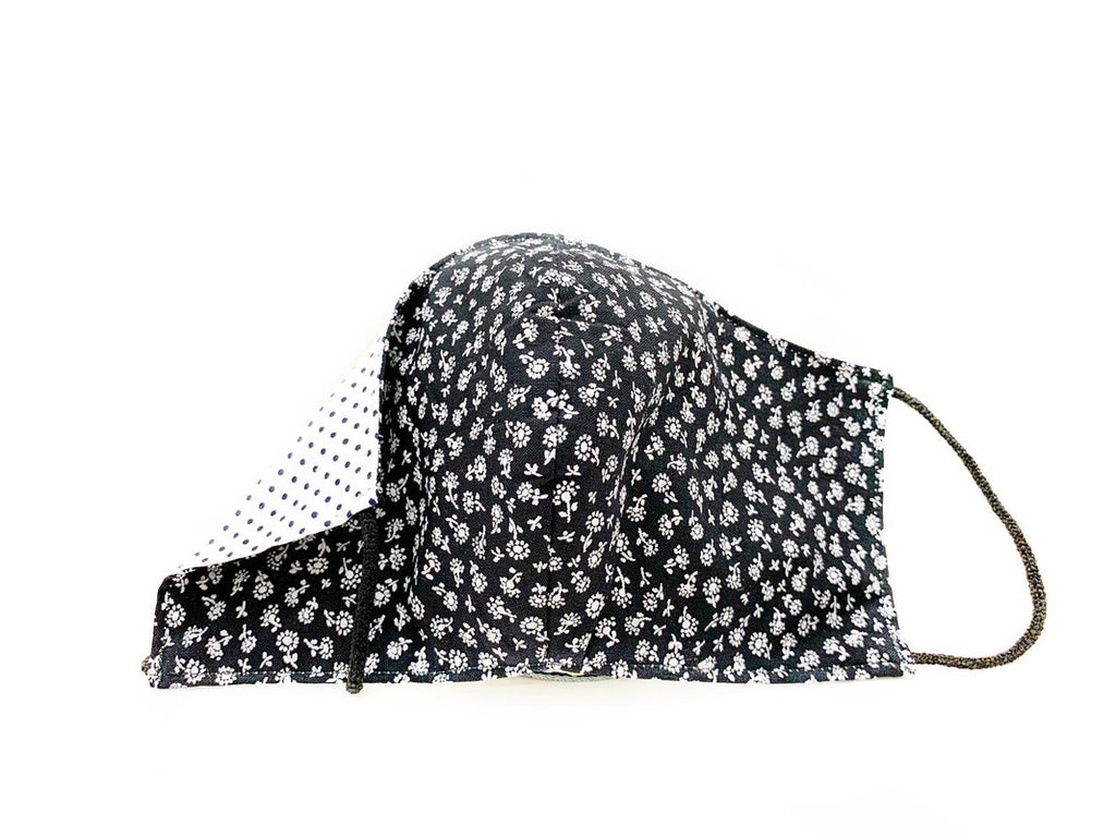 Mascarilla Black Flower Topo Reversible 1