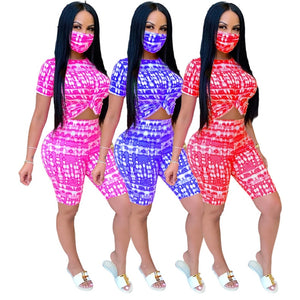 Tie-Dye With Mask Short Sleeve Tee Tops Knee Length Shorts Jogger Pant Suit Three Piece Set Sport Tracksuit Outfit