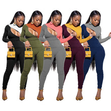 Load image into Gallery viewer, Sexy Knitted Ribbed Zipper Sweaters Jogger Pants Suit Active Wear Tracksuit Two Piece Set Fitness Outfits