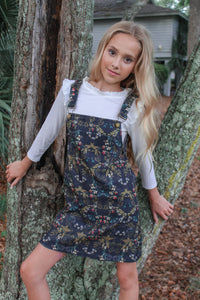 Fancy Floral Overall Dress