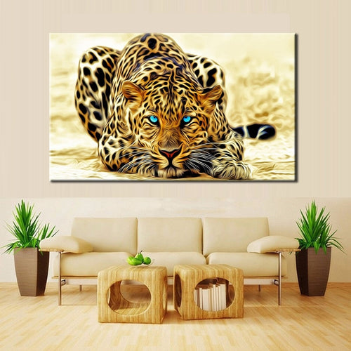 Modern Paintings HD Digital Printed on Canvas, Wall Art Large Leopard Poster for Living Room Home Decor No Frame - TurtlePanda