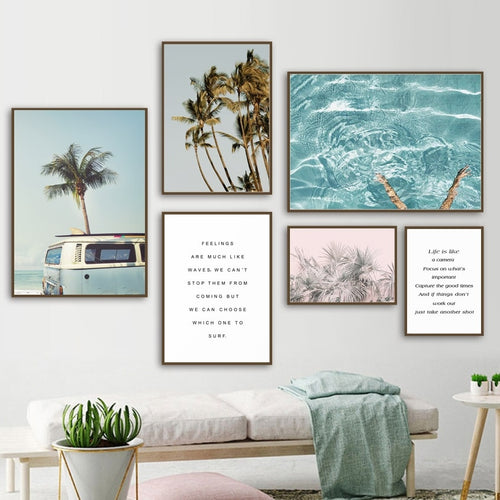 Coconut Tree Palm leafs Bus Sea Landscape Wall Art Canvas Painting Nordic Posters And Prints Wall Pictures For Living Room Decor - TurtlePanda