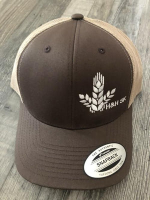Open image in slideshow, H&H SK Curved Wheat Sheaf Trio Snapback Hat