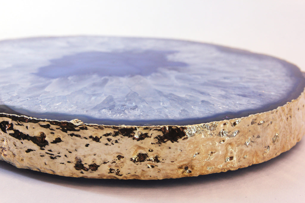 Agate Trivet With Gold Rim
