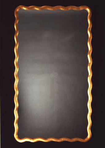Scalloped Rectangle Antique Gold Mirror
