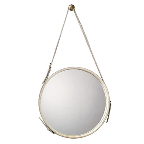 Small Round White Hide Mirror