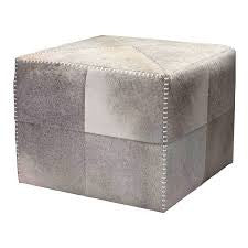 Large Grey Hide Ottoman