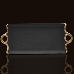 Snake Gold Rectangular Tray, Medium