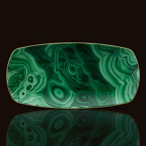 Malachite Rectangular Tray, Medium